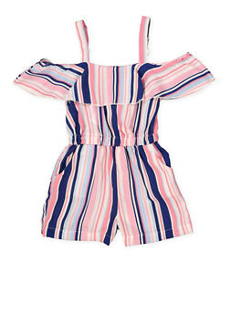 Girls 7-16 Striped Ruffle Romper - 1619051060151