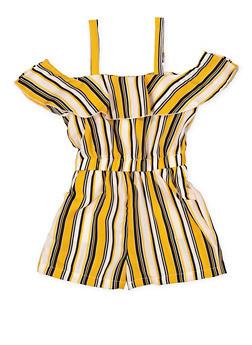 Girls 7-16 Striped Ruffle Romper - 1619051060151