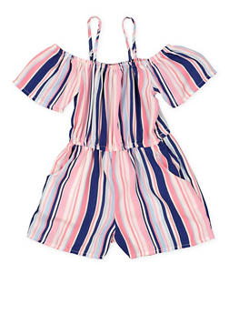 Girls 7-16 Striped 2 Pocket Off the Shoulder Romper - 1619051060152