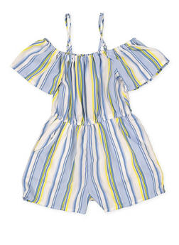 Girls 7-16 Striped 2 Pocket Off the Shoulder Romper - 1619051060152