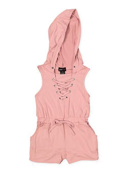 Girls 7-16 Lace Up Hooded Romper - 1619051060155