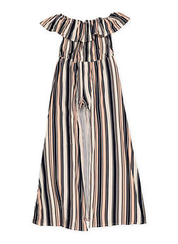Girls 7-16 Striped Off the Shoulder Maxi Romper - 1619051060161