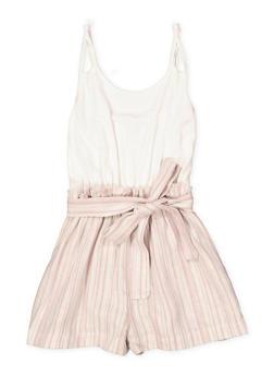 5816706ca8e3 Girls 7-16 Striped Paper Bag Linen Romper - 1619051060166