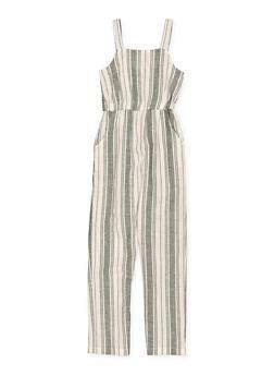 Girls 7-16 Striped Linen Jumpsuit - 1619051060167