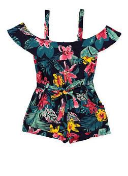 Girls 7-16 Ruffled Off the Shoulder Floral Romper - 1619051060168