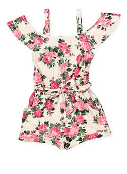 4f505648d6 Girls 7-16 Ruffled Off the Shoulder Floral Leaf Romper - 1619051060169