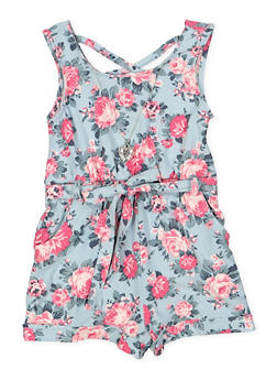 Girls 7-16 Soft Knit Floral Romper with Necklace - 1619051060171