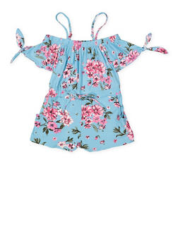 Girls 7-16 Floral Off the Shoulder Soft Knit Romper - 1619051060172