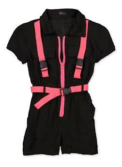 Girls 7-16 Half Zip Buckle Romper - 1619051060185