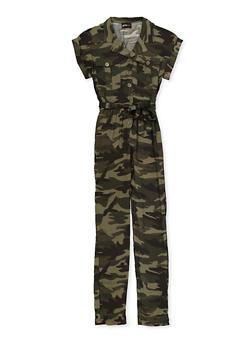 Girls 7-16 Camo Tie Waist Jumpsuit - 1619051060189
