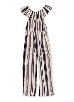 Girls 7-16 Ruffle Striped Jumpsuit - 1619051060206
