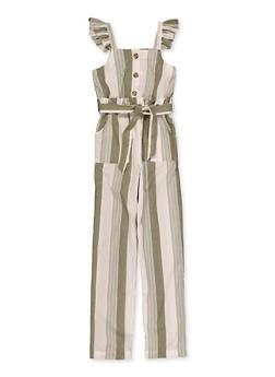 Girls 7-16 Ruffle Trim Striped Jumpsuit - 1619051060212