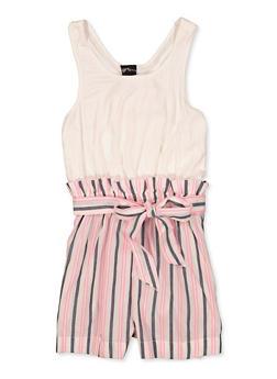 Girls 7-16 Bow Tie Back Striped Romper - 1619051060215