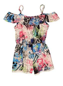 Girls Printed Cold Shoulder Romper - 1619051060225