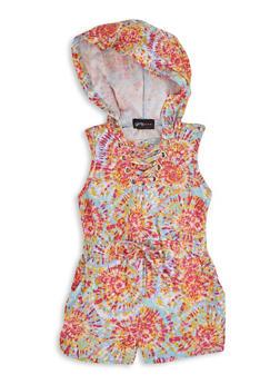 Girls Tie Dye Sleeveless Hooded Romper - 1619051060236