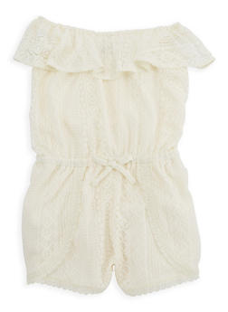 Girls 7-16 Off the Shoulder Lace Romper - 1619054730004