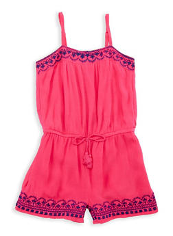 Girls 7-16 Gauze Knit Embroidered Romper - 1619054730006