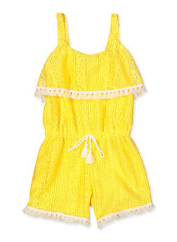 Girls 7-16 Lace Tassel Trim Romper - 1619054730046