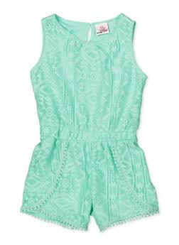 Girls 7-16 Crochet Trim Lace Romper - 1619054730047