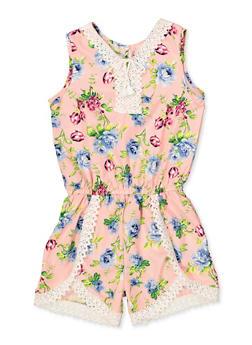 Girls 7-16 Floral Crochet Trim Tank Romper - 1619054730051
