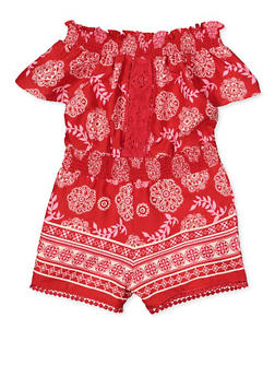 Girls 7-16 Printed Crochet Insert Romper - 1619054730053