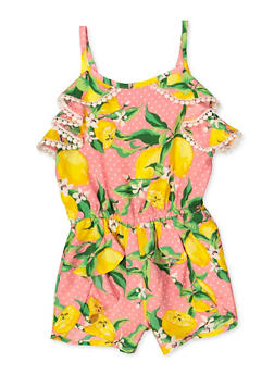 Girls 7-16 Lemon Print Romper - 1619054730055