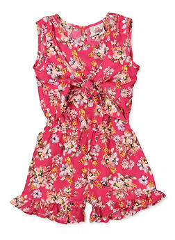 Girls 7-16 Floral Tie Front Romper - 1619054730057