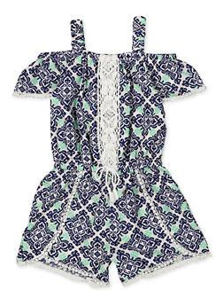 Girls 7-16 Printed Off the Shoulder Crochet Trim Romper - 1619054730058