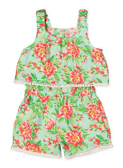 Girls 4-16 Floral Overlay Tank Romper - 1619054730059