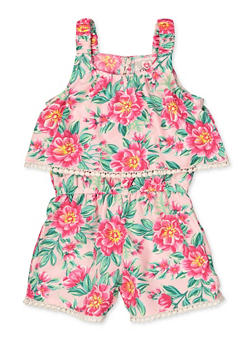 Girls 4-16 Floral Overlay Tank Romper - 1619054730059