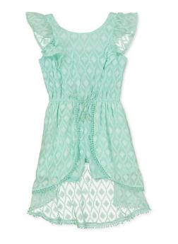 Girls 7-16 Textured Pattern Overlay Romper - 1619054730074
