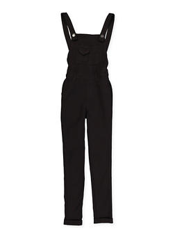 Girls 7-16 Black Hyperstretch Overalls - 1619056570007
