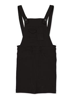 Girls 7-16 Black Stretch Overall Dress - 1619056570009