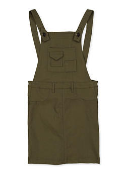 Girls 7-16 Olive Stretch Overall Dress - 1619056570010