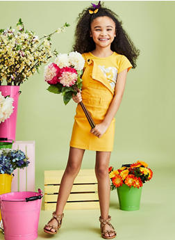 Girls 7-16 Mustard Hyperstretch Overall Dress - 1619056570011