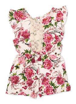 Girls 7-16 Crochet Detail Floral Romper - 1619060580025