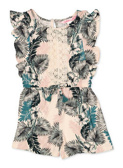 Girls 7-16 Tropical Print Crochet Trim Romper - 1619060580026