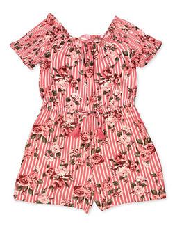 Girls 7-16 Striped Floral Off the Shoulder Romper - 1619060580027