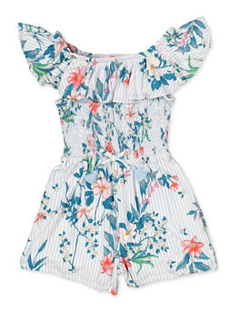Girls 7-16 Floral Striped Off the Shoulder Romper - 1619060580030