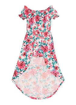Girls 7-16 Floral Striped Off the Shoulder Maxi Romper - 1619060580037