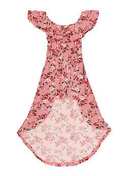 Girls 7-16 Rose Striped Overlay Romper - 1619060580040