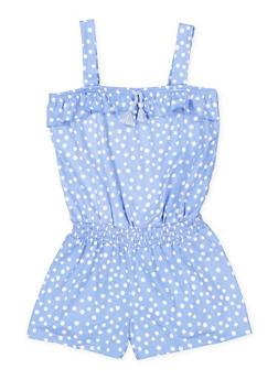 Girls 7-16 Smocked Waist Polka Dot Romper - 1619061950012
