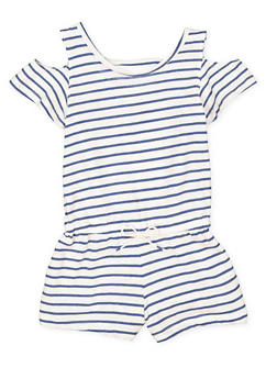 Girls 7-16 Striped Cold Shoulder Romper - 1619061950015