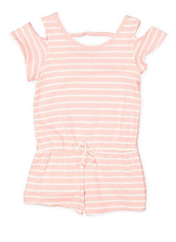 Girls 7-16 Striped Cold Shoulder Romper - 1619061950016