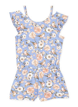 Girls 7-16 Printed Cut Out Sleeve Romper - 1619061950022