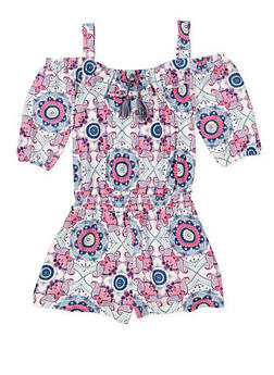 Girls 7-16 Printed Soft Knit Romper - 1619061950025