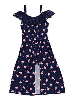 Girls 7-16 Flamingo Print Overlay Romper - 1619061950032
