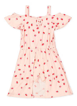 Girls 7-16 Strawberry Print Overlay Romper - 1619061950034