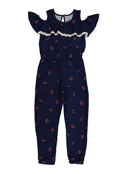 Girls 7-16 Cherry Print Cold Shoulder Jumpsuit - 1619061950037