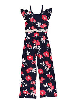 Girls 7-16 Floral Palazzo Jumpsuit - 1619061950039